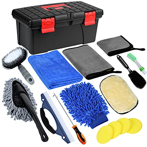 GIVIGO Car Wash Kit 16 Pcs Car Detailing Kit with Softer Microfiber Cleaning Cloth Car Cleaning Kit Thicker Box Car Wash Mitt Duster Squeegee Tire Brush Car Cleaning Supplies for All Surfaces