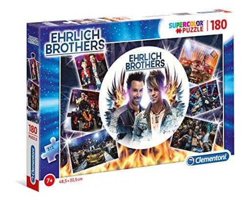 Clementoni 59176 Ehrlich Brothers Puzzle 180 Teile, farbenfrohes Kinderpuzzle für kleine Magier, leuchtendes Legespiel, mit buntem Motiv, für Kinder ab 7 Jahren