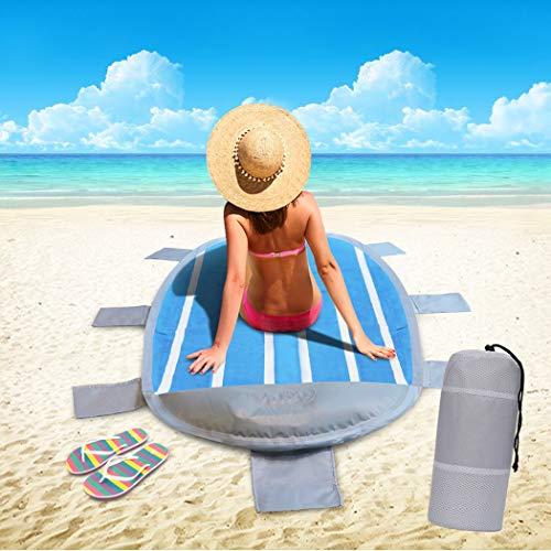 Idefair Sandfreie Stranddecke Matte, wasserdichte kompakte Picknickdecke mit 6 Taschen-extrem weich schnell trocknend hitzebeständig für Outdoor-Camping Wandern