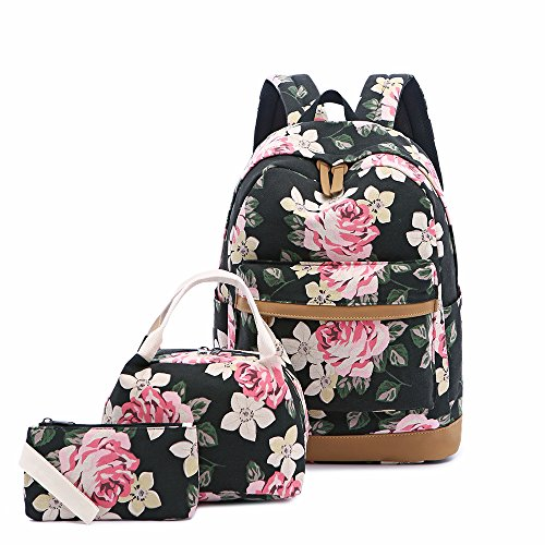 Lmeison Floral Backapck for Women College, Cute Bookbag with Lunch Bag Pencil Case, Canvas School Backpack for Girls Travel Daypack Laptop Bag for 15inch Laptop