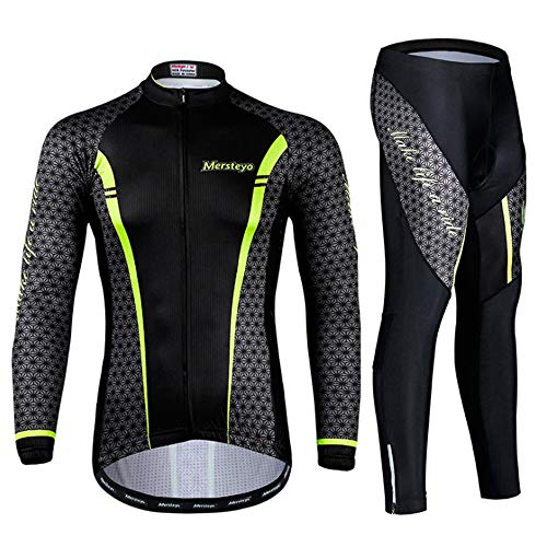 TTPF Conjunto de Manga Larga de Ciclismo Jersey Ropa de Bicicleta para Hombres Almohadilla de Gel 3D Transpirable Deportes Running Secado rápido Adecuado para Primavera Otoño Equitación,XXL