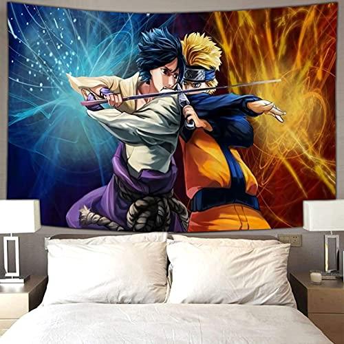 Decoración universitaria para dormitorio de niñas, anime Naruto Sasuke Uchiha y Naruto Lucha Boutique Art Tapiz para colgar en la pared, 230 x 180 cm