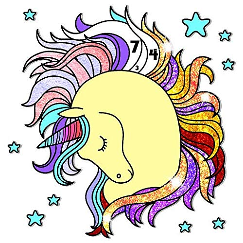 Unicorn Color by Number - Fantasy Grownups Paint + Glitter + Crayon + Oil Paint Coloring Pages