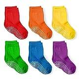 LA Active Calcetines Deportivos Antideslizantes - 6 Pares - Bebé Niño Pequeño Infante Recién Nacido Chicos Chicas Anti Deslizante/Patinazos (Arcoíris, 6-12 Meses)