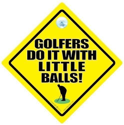 Golfer mit Kleine Kugeln, Auto-Schild, Autoaufkleber, Baby On Board, Verkehrszeichen, Kfz-Schild, Fahrzeug Schild, Golf Zeichen, Sign, Aufkleber, Lustiger Golfspieler Auto Zeichen