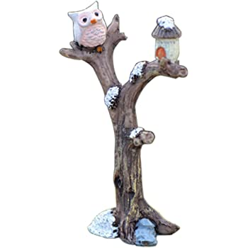 Amazon Com Liuqingwind Miniature Fairy Gardens Accessories Mini Resin Tree Branch Owl Micro Landscaping Garden Bonsai Dollhouse Decor Grey Garden Outdoor