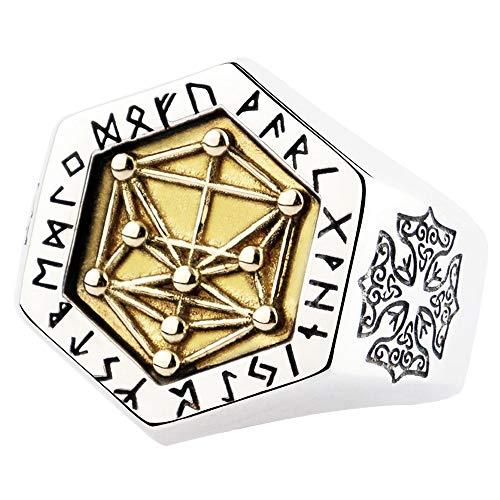 FORFOX Anillo runas y árbol de la Vida Vikingo de Plata de Ley 925 para Hombres Mujeres Talla Ajustable 14-25