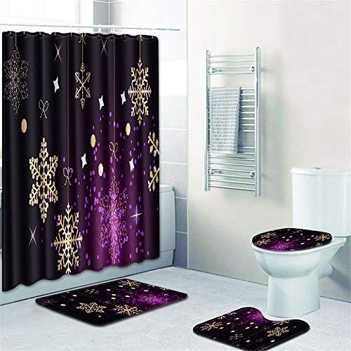 YSDDM Badmat 4 Stks/Set Badkamer Niet Slip Tapijt + Deksel Toilet Cover + Badmat+Douche Gordijn Lot-in Badmatten van Thuis & Tuin