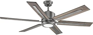 Progress Lighting P2586-8130K Protruding Mount, 6 Walnut/Driftwood Blades Ceiling fan with 17 watts light, Antique Nickel