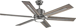 Progress Lighting P2586-8130K Protruding Mount, 6 Walnut/Driftwood Blades Ceiling fan with 17 watts light, Antique Nickel