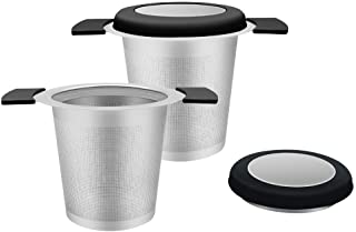 CHuangQi (Pack of 2) 18/8 Stainless Steel Fine Mesh Tea Infuser with Double Handles, Tea Strainer for Brewing Loose Leaf T...