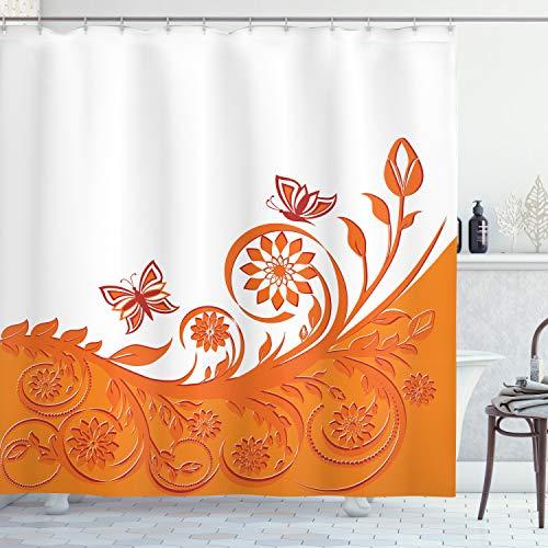 ABAKUHAUS Naranja Cortina de Baño, Rama Rose, Material Resistente al Agua Durable Estampa Digital, 175 x 200 cm, Naranja Blanco