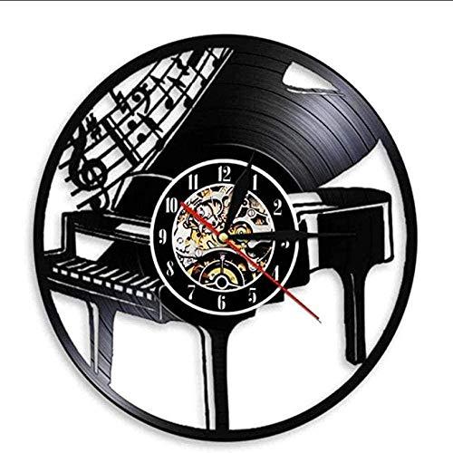 WTTA Instrumento Musical Piano Reloj de Pared Notas melodía Piano de Cola partitura de música Disco de Vinilo Reloj de Pared Pianista músico Regalo sin LED