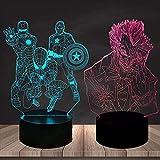 Tatapai Marvel Comics Iron Man Spiderman Captain America Illusion d'optique 3D Veilleuse...