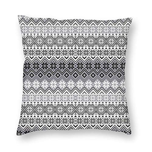 ZUL 3D Print Throw Pillow Covers,Nordic Snowflake Knit Patterns Scandinavian Motifs Traditional And Modern Print,Decorative Square Cushion Covers Case for Sofa Couch Home Decor