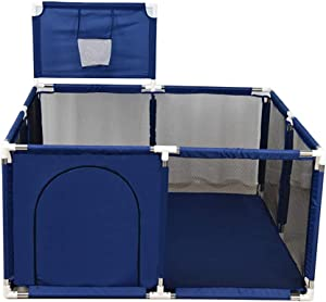 XHJYWL Portable Playard Play Pen for Infants and Babies  Children s Safety Fence for Indoor Outdoor  Easy  amp  Quick Assembly  Blue   Size 128x128x66cm