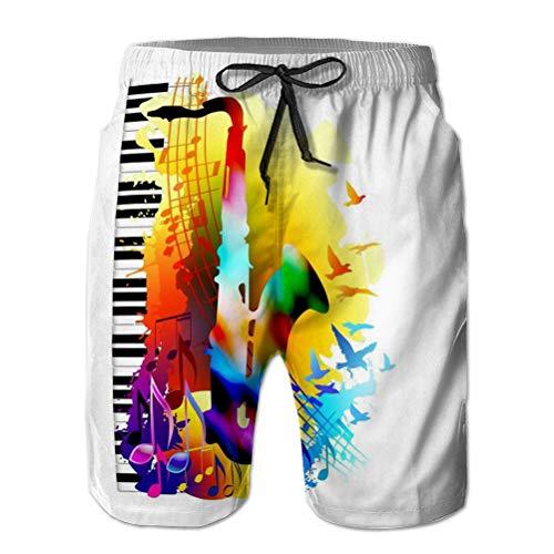 LJKHas232 Pantalones cortos de playa de secado rápido con bolsillos para hombre, fondo de música saxofón, piano notas musicales Flying Birds Music Saxofón Piano Notas musicales