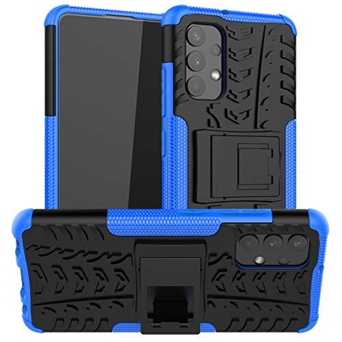 Pneumatici Cover per Samsung Galaxy A32 4G, 2in1 Armatura Combinazione Custodia Antiurto Scudo Body Armor Copertura Defender Case con Supporto (Blu)