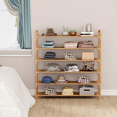 Tribesigns - Estantería de bambú para zapatos, 6 compartimentos, mantiene 18 – 24 pares, organizador de zapatos para guardarropa, pasillo, entrada, 90 x 24 x 92 cm