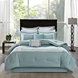 Madison Park Stratford Queen Size Bed Comforter Set Bed in A Bag - Aqua, Geometric – 8 Pieces Bedding Sets – Ultra Soft Microfiber Bedroom Comforters