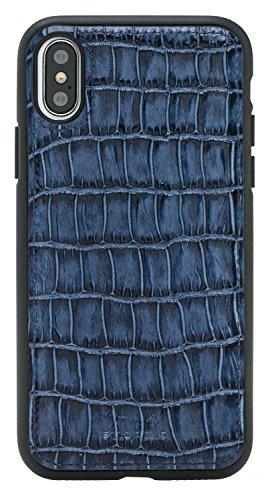 Solo pelle iPhone X Case Funda De Piel Funda de piel Back Cover Flex de piel, Krokoprägung Blau (Azul) - FXC-IP8-YK07