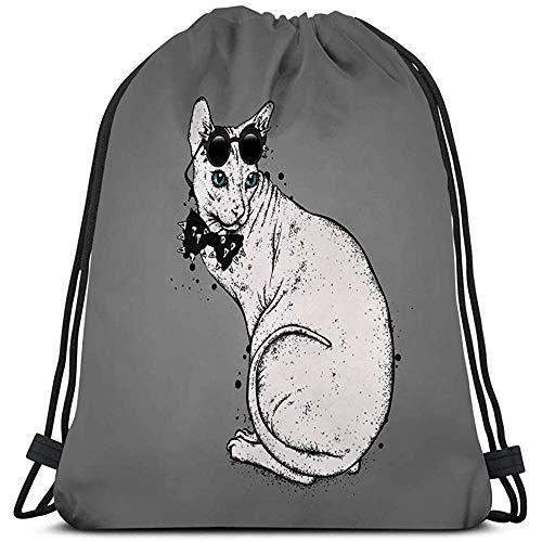 Dingjiakemao Mysac,Leichte Turnhalle Travel Yoga Casual Drawstring Bag Schöne Glatze Katze Brille Binden Dornen Katze Sphynx Zucht Schöne Glatze Katze Brille