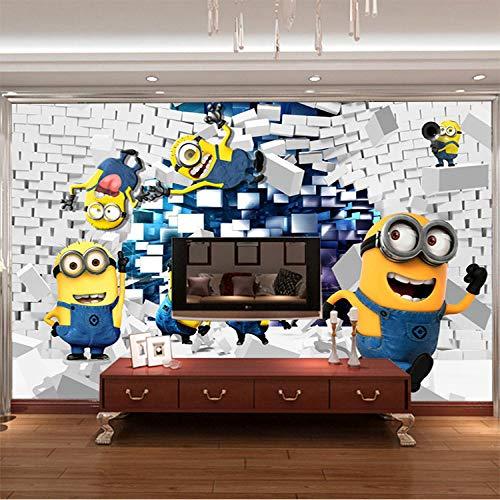 MIYCOLOR 3D Minions Fototapete Cartoon Despicable Me Wandbild Seidentapete Jungen Schlafzimmer Kinderzimmer Dekor Art Home Decoration Funny-200x140