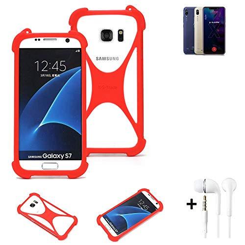 K-S-Trade® Handyhülle + Kopfhörer Für Allview Soul X5 Style Schutzhülle Bumper Silikon Schutz Hülle Cover Case Silikoncase Silikonbumper TPU Softcase Smartphone, Rot (1x),