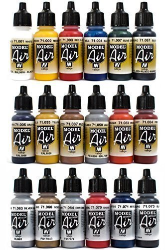 VALLEJO MODEL AIR Airbrush Farben-Set inklusive Metallic-Töne, 17 ml, 18 Stück