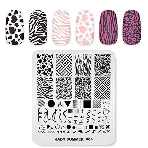 Nagel Stempelplatte Sommer Thema Bild Druck Design Vorlagen Geometrie Leopard Zebra Muster Mehrere Muster Maniküre Design Schablone DIY Nagel Kunst Stamping werkzeuge