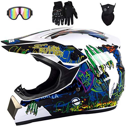 Casco Motocross, JMY-01 Casco Moto Niño con Gafas Descenso, Cascos de Moto...