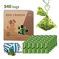 犬のうんちバッグ540個の使い捨て可能なうんばんの生分解性のペットゴミ袋 (Color : Green)
