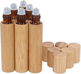 6 Pack Roll On Bottle,10ml Essential Oil Bottle Bamboo Shell,Amber Glass Inner with Stainless Steel Roller Ball Travel Per...