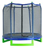 Upper Bounce 7' Classic Kids Trampoline&Safety Enclosure Set–Drop-Click Easy AssemblyRoundIndoor/OutdoorTrampoline forKids,SupportsUp to150lbs