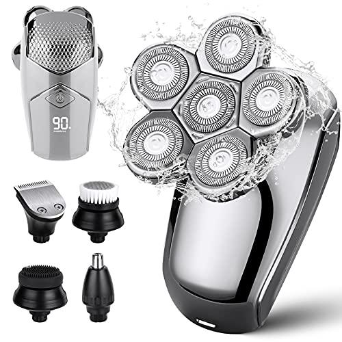 Rasierer Herren Elektrisch, WUTASU Glatzen Rasierer 6D Elektrorasierer Nass und Trockenrasierer IPX6 LED Anzeige 5 in 1 Rasierapparat Pflegekit mit Nasenhaartrimmer Gesichtsbürste Barttrimmer