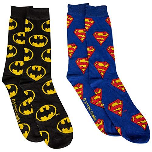 DC Comics Batman & Superman Symbole All Over 2 Paar Crew Socken