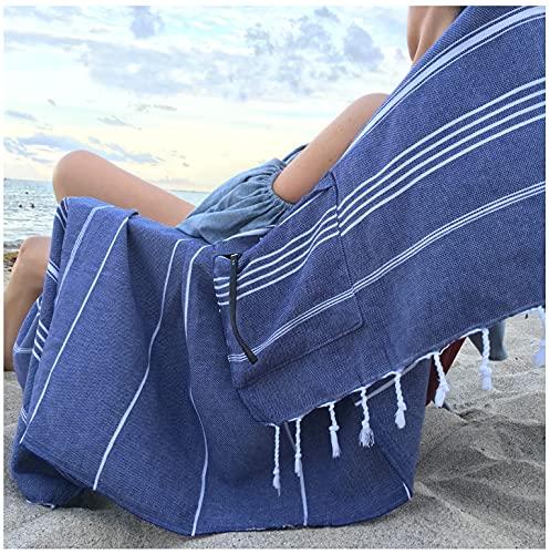 Lux Oversized 40x75 Absorbent Cotton Beach Towel W/Hidden Zipper Pocket 100% Natural Turkish Cotton XL