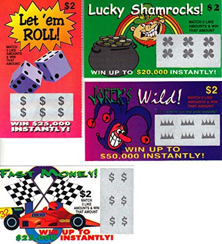 Fake Lottery Tickets-(30 Pack)- Fake Winning Lottery Tickets-6 Fake Scratch Off Tickets Designs Look...