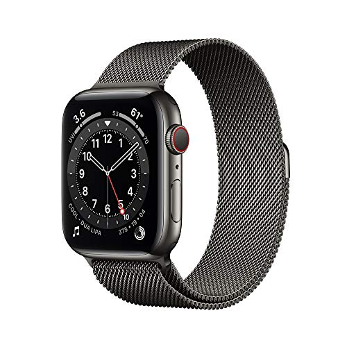 New AppleWatch Series 6 (GPS + Cellular, 44mm) - Graphite Stainless Steel Case with Graphite Milanese Loop