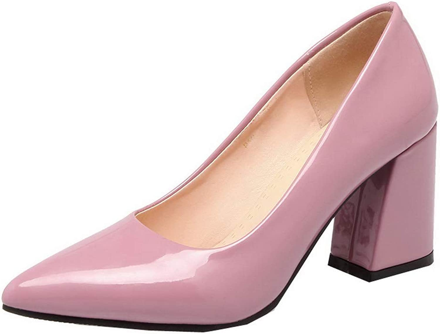 WeenFashion Women's Pull-On High-Heels Patent Leather Closed-Toe Pumps-shoes,AMGDX007106