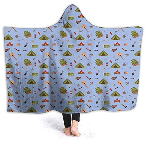 ERshuo 60'x 80' Hooded Blanket Hood Cloak Cape Wearable Cuddle Super Soft Sherpa Fleece 3D Blanket, Camping Icons Such As Tent Guitar Campfire And Boots Illustration For Children 60x80IN