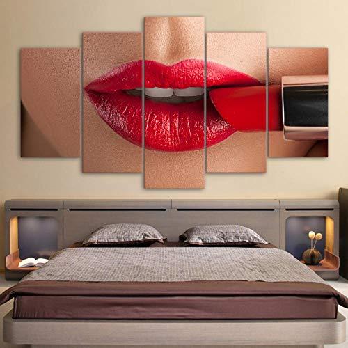 SZQY Leinwanddrucke Drucken Leinwand Malerei Modular Picture Stick Die Wand 5 Stück/Stück Sexy Lippe Mit Rotem Lippenstift Hd Wohnzimmer Home Decor