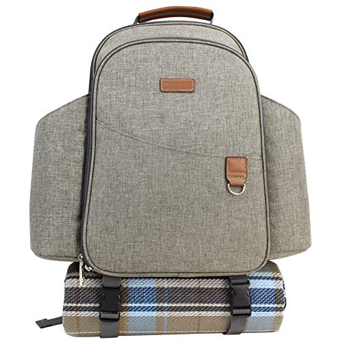 HappyPicnic Insulated Picnic Backpack for 2 Persons with Full Set of Tablewares Roomy Cooler Compartment Bottle Holders and Large Waterproof Picnic Rug Brushed Khaki
