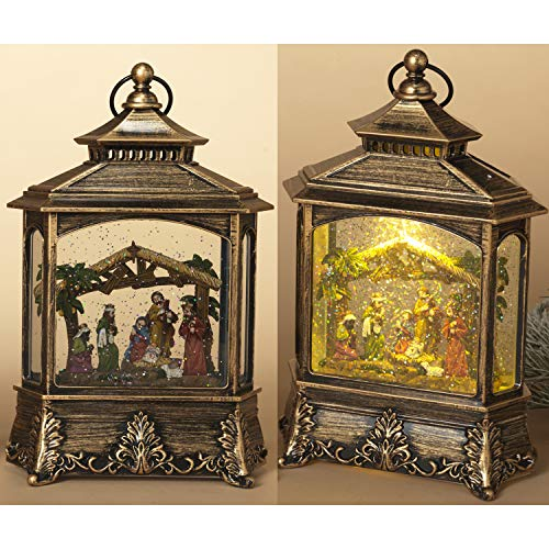10.4-Inch Elegant Lighted Musical Nativity Scene Snow Globe Water Lantern with Holy Family and Rustic Manger – Tabletop or Hanging Christmas Decoration – Light Up Religious Holiday Home Decor