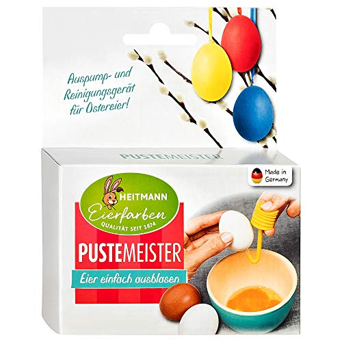Heitmann Eierfarben Puste-Meister - Auspump- und Reinigungsgerät für Ostereier - schnell & hygienisch - Bohren, Pumpen, Spülen - Eier ausblasen