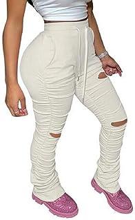 Yeirui Women's Bottom Bell Plain Sport Pants Drawstring Bodycon Ripped Destroyed Sweatpants