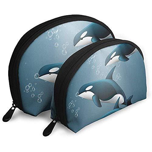 Baleines sous l'eau Sea Life Sacs Cosmétiques Étanche Tissu Maquillage Pochette d'embrayage Cosmétique Et Trousse De Toilette Organisateur Sac Trousse De Toilette Portable