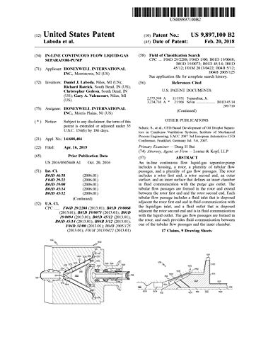 In-line continuous flow liquid-gas separator-pump: United States Patent 9897100 (English Edition)