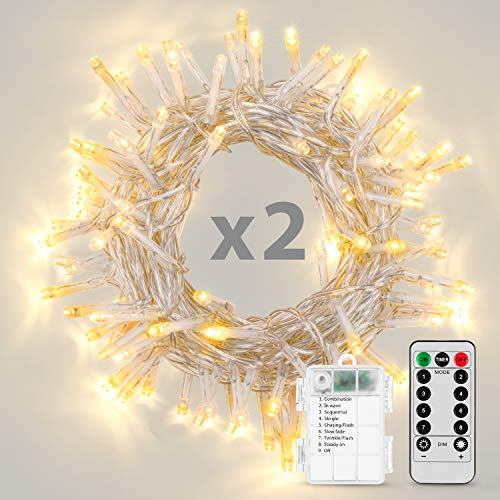 Koxly String Lights, 2 Pack Battery Operated String Lights with Remote Timer Waterproof 8 Modes 16.4ft 50 LED String Lights for Bedroom,Garden,Party,Xmas Tree Indoor Outdoor Decorations, Warm White