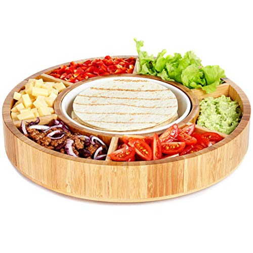Rotating Appetizer Serving Platter - Taco Tray with Detachable Ceramic Dish - Lazy Susan Сhip and Dip Relish Dish - Bamboo Wood